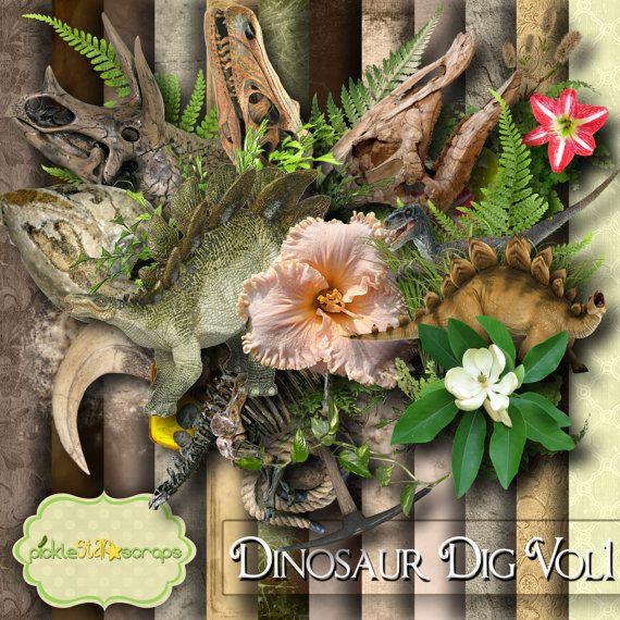 Dinosaur Scrapbooking Kit Dinosaur printable by PickleStarScraps