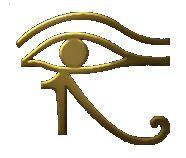 L'œil d' HORUS (œil Oudjat, wedjat eye). HORUS perdit son oeil gauche (symbolisant la lune, l'œil droit étant le soleil) lors d'un combat contre son oncle SETH (qui lui, perdit sa virilité).