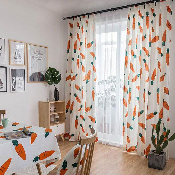 White And Orange Carrot Cute Curtains For Kids Cute Curtains Curtains Living Room Colorful Curtains #orange #and #gray #curtains #for #living #room