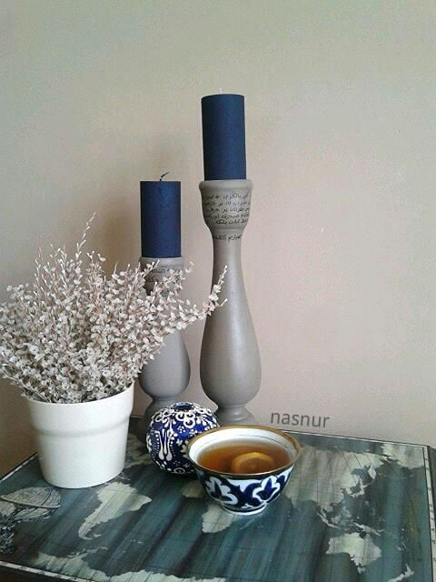 seramik şamdan boyama handpaint candlestick ceramic candle arabic draw handmade decorative green tea