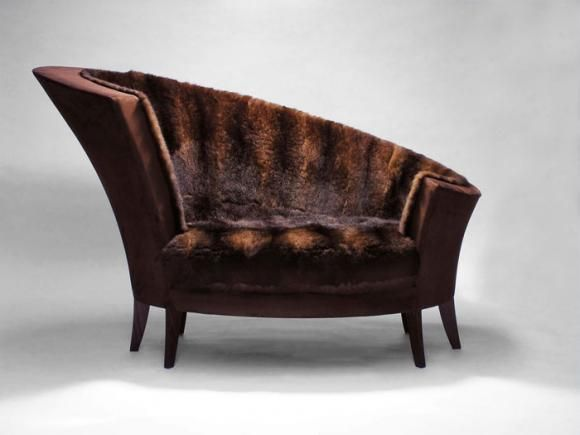 Classic brown possum fur and tan leather Koru Chair Cruikshank 2005