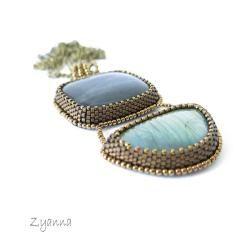 wisior,haft koralikowy,oryginalny,labradoryt - Wisiory - Biżuteria