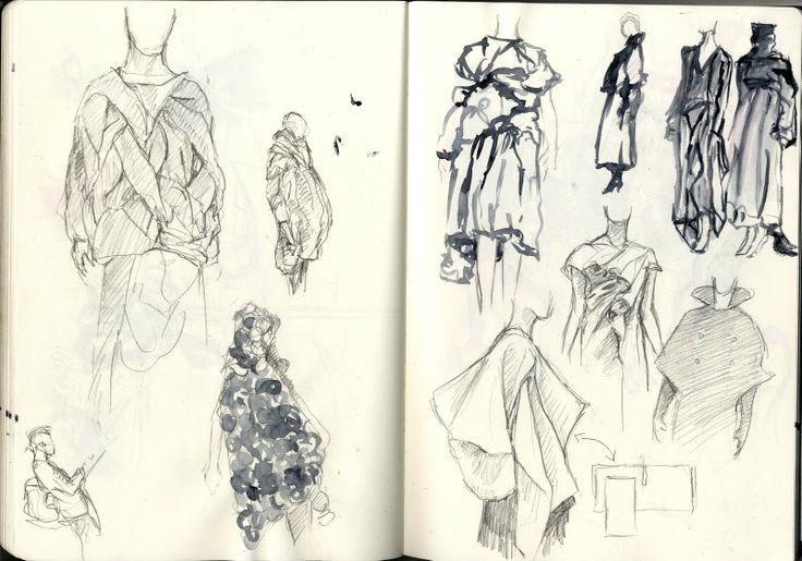 Fashion Sketchbook - fashion design drawings; dress sketches; research on Japanese fashion designers; fashion portfolio // Cal Hoy