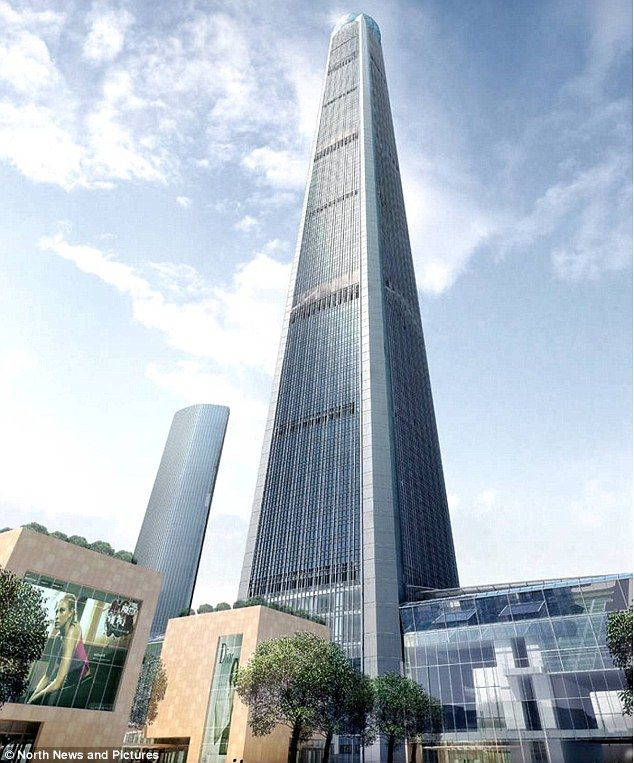 The Goldin Finance 117 tower (named after the company and the number of floors in the building) will be the tallest building in the Chinese city of Tianjin at 1,959 feet (597 metres)