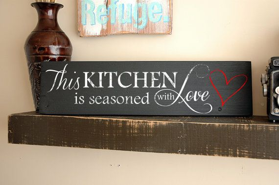 Kitchen Wall Art Sayings - This Kitchen is Seasoned With Love - Hand Painted on Reclaimed Wood Board #DeltaFaucetInspired