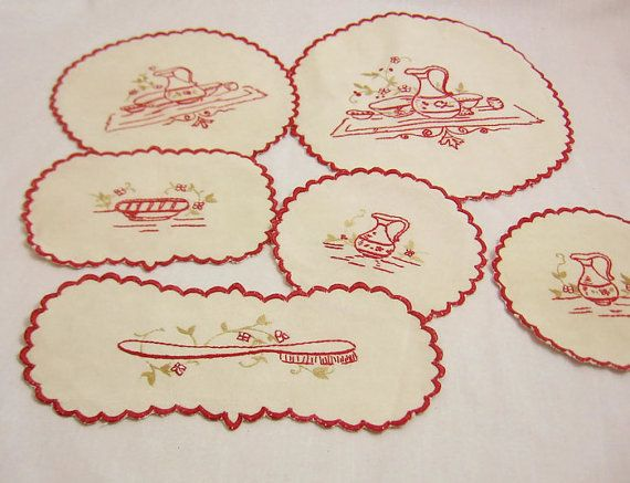 Set of Six Red Work Hand Embroidered by GrannyBeansBoutique