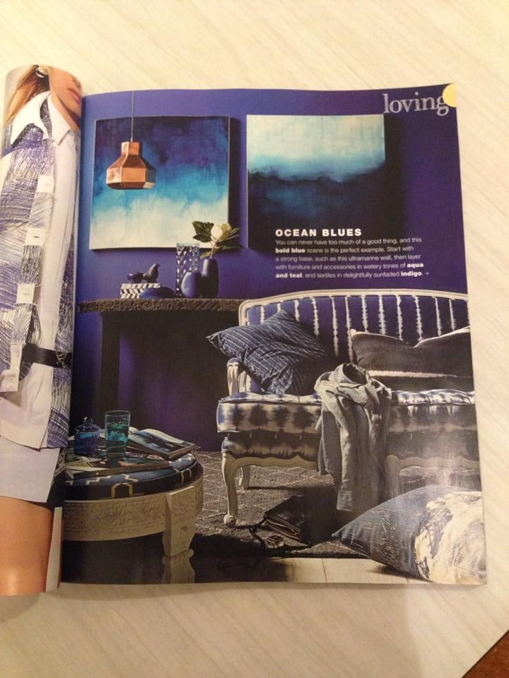"""Blue Morning"" (SOLD) and ""Dark Sea"" (SOLD) by Anita Jocovich both featured in January, 2014's Real Living Magazine. More available works here: http://platformstore.com.au/collections/anita-jokovich"