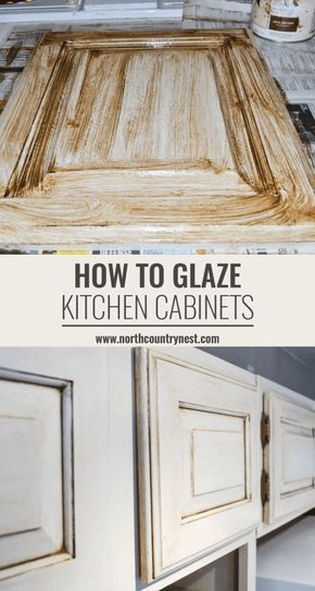 Sharing two easy techniques on how to glaze kitchen cabinets to achieve the perfect antique look! #northcountrynest #DIY #kitchen