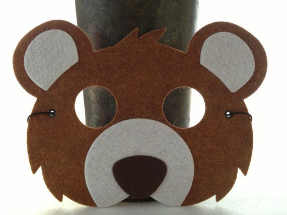 Kids Brown Bear Mask - Bear Costume - Animal Mask for Pretend Play - Halloween Mask