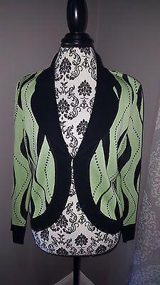 MING-WANG-Black-Lime-Geometric-Cardigan-Jacket-Women-039-s-Petite-Size-Medium