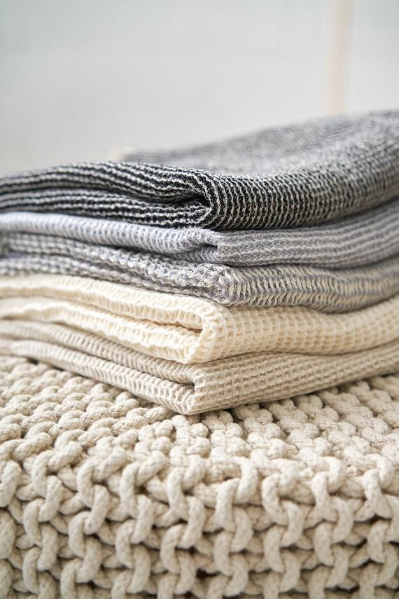 Grey Linen Towel Waffle Linen Towel Melange Towel Linen Towels
