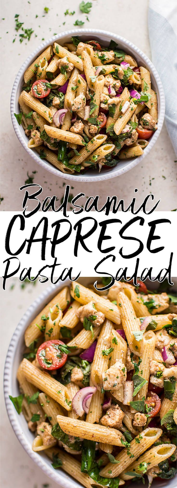 This balsamic caprese pasta salad is a light, quick, and simple vegetarian side dish that's perfect for picnics or BBQs. This pasta salad has the delicious classic caprese flavor combination of tomatoes, basil, and fresh mozzarella, with balsamic vinegar and olive oil making up the dressing.