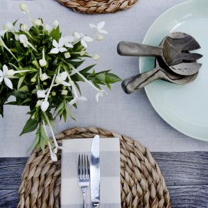 Silver cotton linen table runner from www.wongaroad.com.au