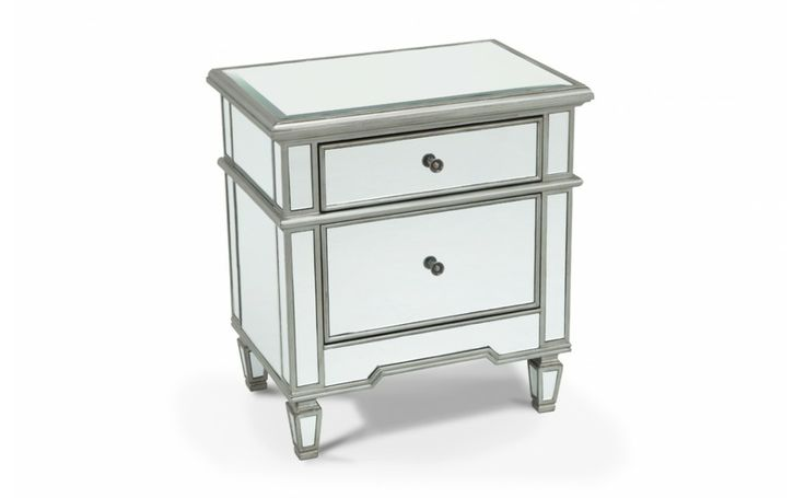 Mirrored 2 drawer side table nightstands bedroom bob for Cheap end tables for bedroom