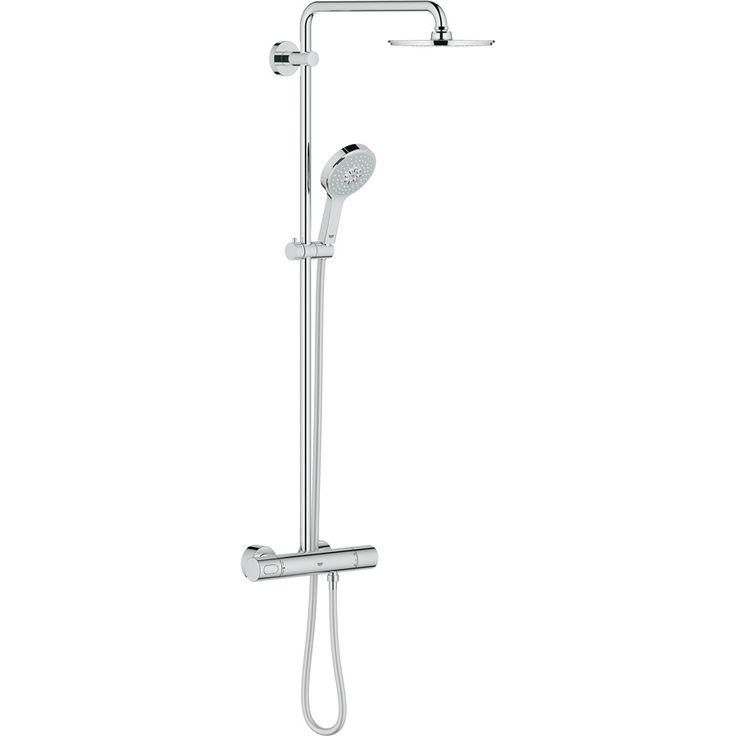 545,- warmteservice Grohe Rainshower douchesysteem met douchekraan thermostatisch, met aquadimmer met Modern hoofddouche 210mm en handdouche chroom