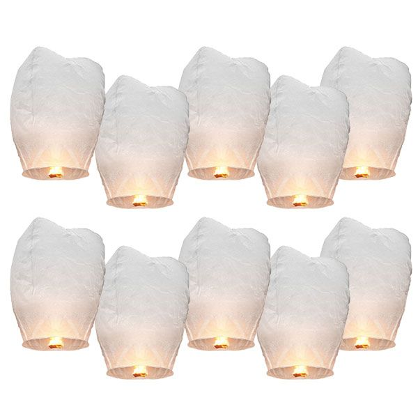 10pcs White Paper Chinese Lanterns Fire Sky Fly Candle Lamp for Birthday Wish Party Wedding Decoration US $13.94