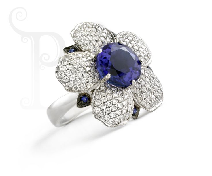 Handmade 18ct White Gold Daisy Ring, Set With a Single Round Tanzanite, Multiple White Diamonds And Sapphire Accents