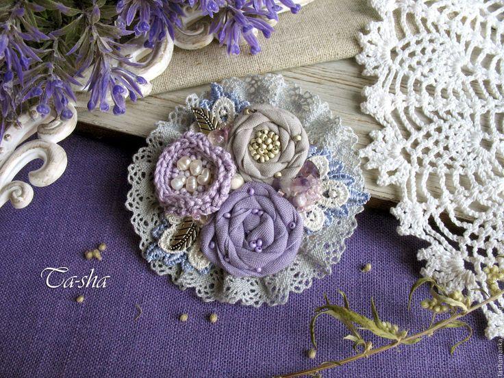 """Купить """"Цикламен""""  брошь бохо - брошь цветок, брошь, брошь цветок нежный, броши из ткани"""