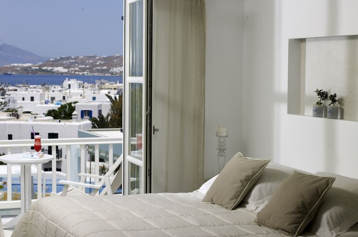 The newly renovated Luxury Superior Double Sea View Rooms of the Semeli Mykonos hotel offer magnificent views of Mykonos town and the sea! http://www.semelihotel.gr/accommodation/superior-double-sea-view-rooms-mykonos/  #Semeli #SemeliHotel #Mykonos #LuxuryHotel #SemeliMykonos