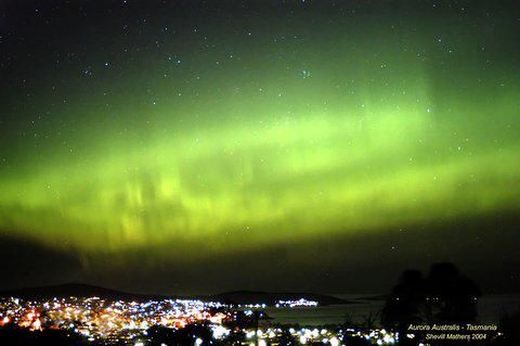 Southern Lights over Hobart, Tasmania, Australia