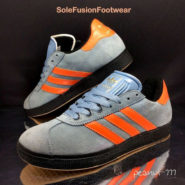 adidas Gazelle Mens Trainers Blue/Orange sz 7 Skateboard Sneakers US 7.5 40 2/3 | eBay