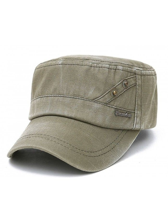 Solid Brim Flat Top Cap Army Cadet Classical Style Military Hat Peaked Cap  - Army Green - CA17YHAT0YM - Hats   Caps 35f97fb307