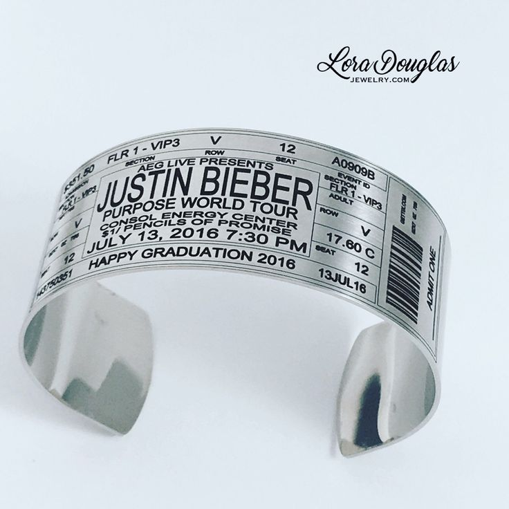 Justin Bieber Concert Ticket Cuff Bracelet #Jewelry #handmadejewelry #accessories #handmade #justinbieber #etsy #etsyseller #etsyjewelry #purposetour #fashionjewelry #fashion #concert #livemusic #pencilsofpromise #consolenergycenter #graduation