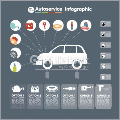 Arte vectorial : Car auto service infographics design elements with mechanical parts icons