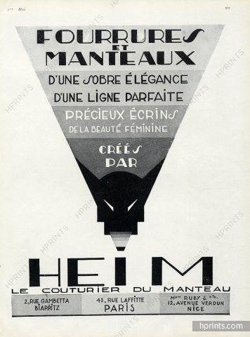 Jacques Heim 1927 Fourrures et manteaux, Art Deco