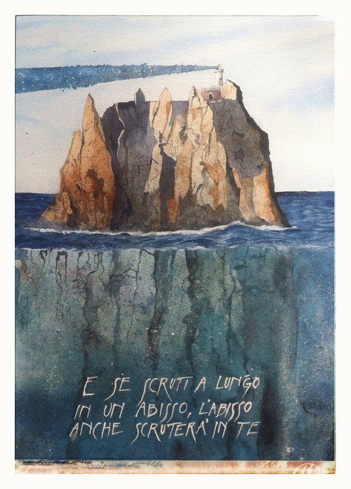 Francesco Faina | Come cosa che nata per fare luce, produce ombra | Watercolor su carta Khadi - 50x70 | 640 gr