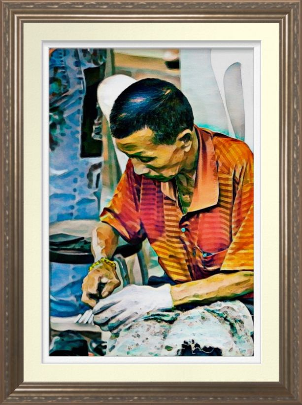 """Chinatown Cobbler"" - Watercolour Art Print. Original art by Roger Smith, Cobbler in Singapore's Chinatown. Watercolor reproduced on Archival Heavyweight Paper. http://www.zazzle.com/chinatown_cobbler_watercolour_art_print-228799425958591968 #Singapore #RogerSmith #art #print #watercolour #watercolor"