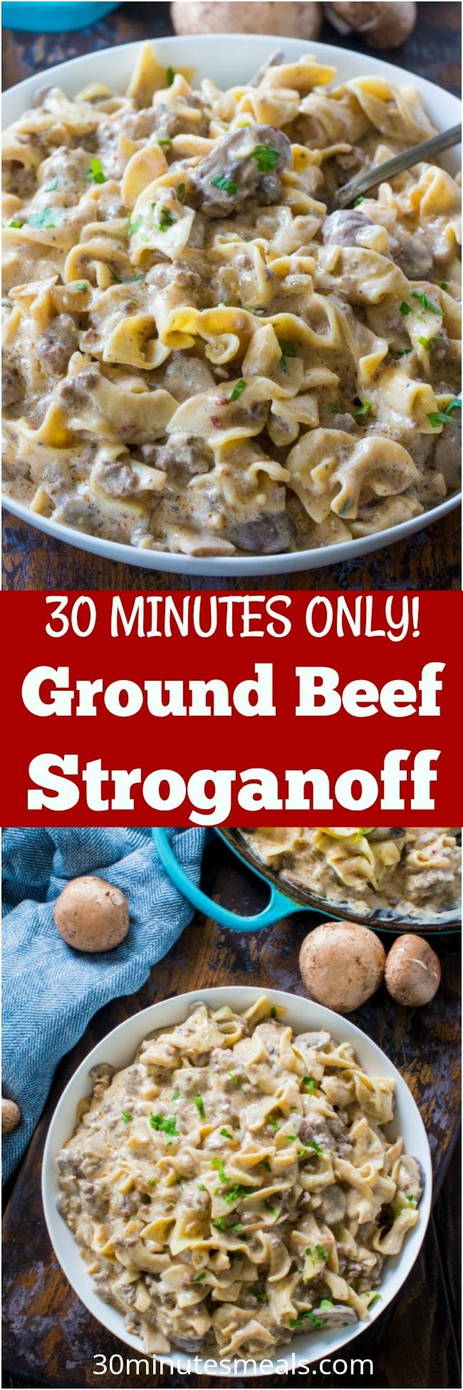 Easy Ground Beef Stroganoff is so unbelievably creamy thanks to a few secret ingredients. Easy to make, in just 30 minutes you have an amazing dinner! #beef #pasta #dinner