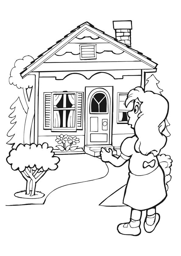 goldilocks finding the three bears cabin is a great free goldilocks coloring sheet for all young kids who adore the goldilocks fairy tale - House Coloring Pages Toddlers