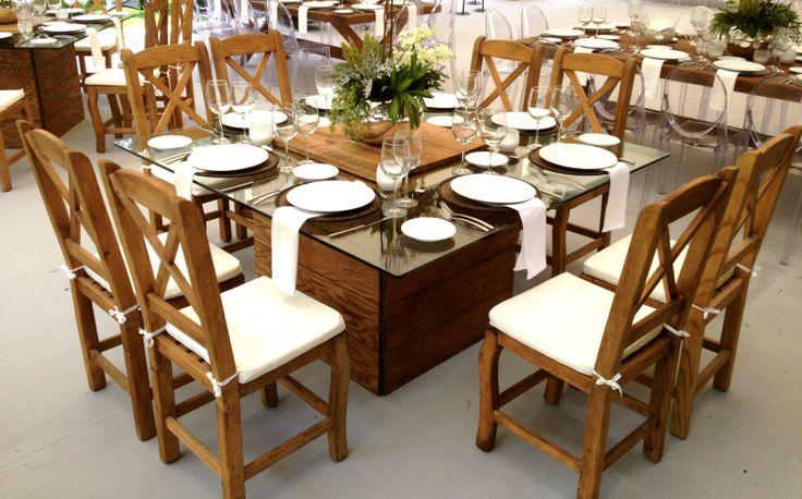 #mesa de cristal y madera, con silla country! estilo #contemporáneo #natural