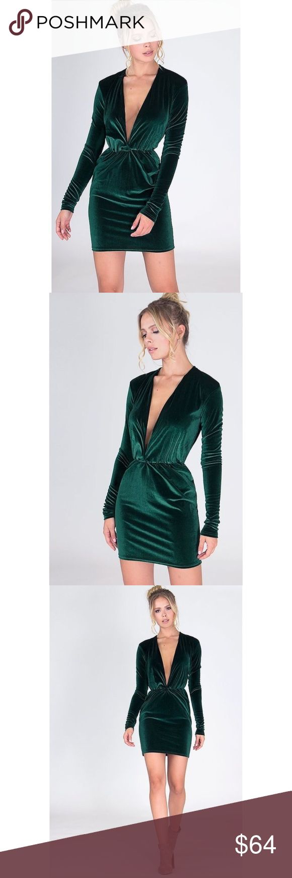 Green Long Sleeve Plunging Velvet Holiday Dress New with tags. Gorgeous deep hunter green dress made in a smooth and soft velvet. Featuring a flattering deep v-neckline, long sleeves, and ruched waistline. Perfect Holiday party dress. 95% polyester, 5% spandex. Made in USA. ❌SORRY, NO TRADES. The O Boutique Dresses Long Sleeve