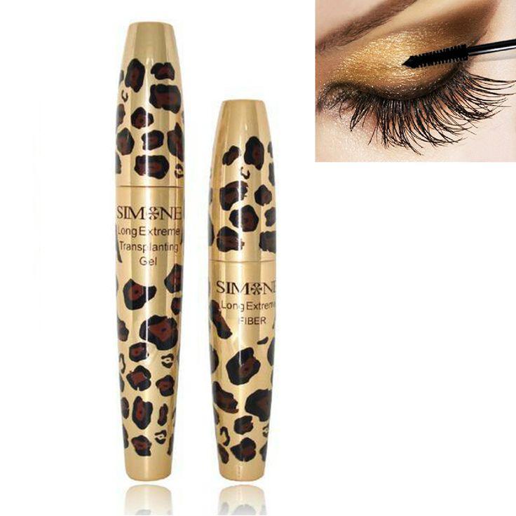 2 Pcs Waterproof 3D Natural Fiber Curving Lengthening Lash Mascara Transplanting Gel Set Leopard Case Makeup Tool NB053