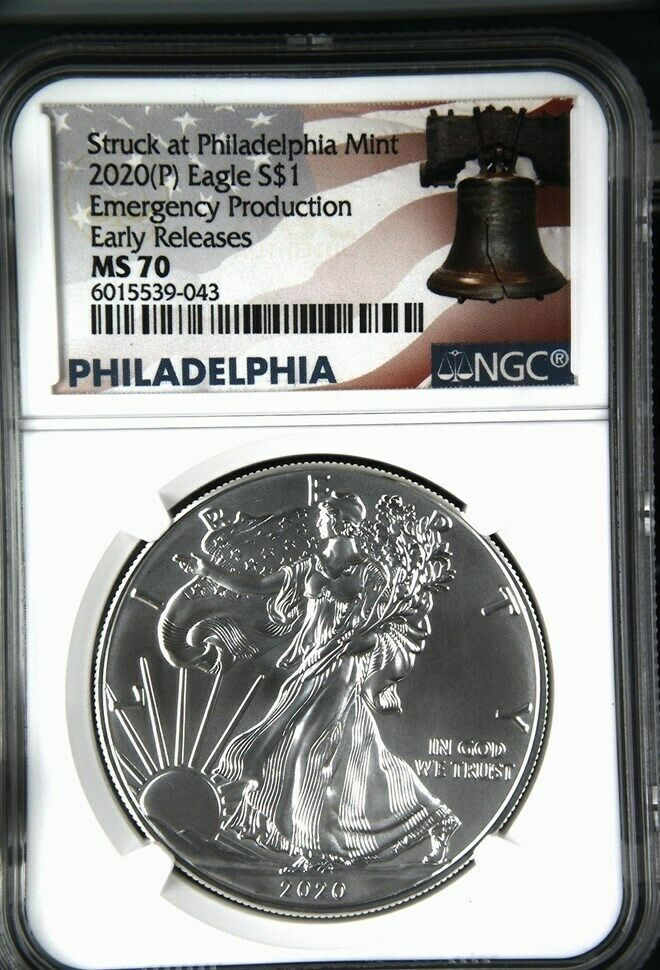2020 P 1 Oz Silver Eagle Ngc Ms 70 Er Liberty Bell Emergency Production Rare Ebay In 2020 Silver Eagles Silver Bullion Silver Coins