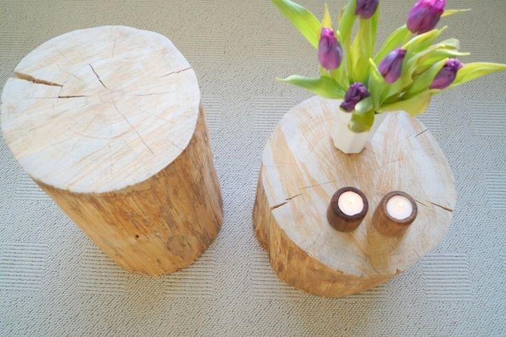 Sådan laver man et bord af en træstub. her kan du se billeder og ...