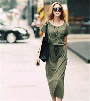 Korean Version Loose Drawstring Waist Cotton Dress