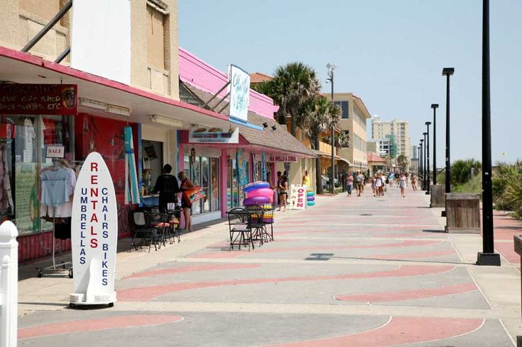 The boardwalk at Jacksonville Beach, my dad took me here so much when we kids, there's a phenominal pizza place on the other side of these shops.