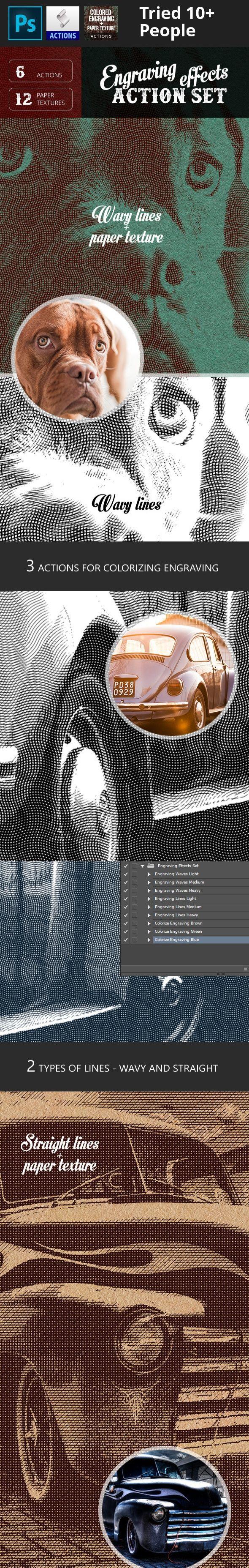 actions, actions pack, adjustment layers, advertising, artistic filter, black and white, blend mode, classic, design, designer, dispersion, effect, engrave, engraving, explode, explosion, graphic, grave, letterpress, line, old, photographer, portrait, retro, vintage Features  1 ATN File 1 PAT File Insruction.txt 3 action for engraving wavy lines (Light, Mediun, Heavy) 3 action for engraving straight lines (Light, Mediun, Heavy) 3 actions for colorizing engraving (Brown, Green, Blue) Easy…
