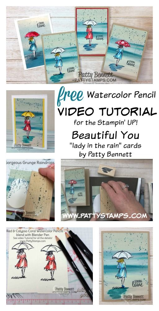 How to use watercolor pencils and blender pens from Stampin' Up! to color the Beautiful You stamp set.  Video tutorial by Patty Bennett