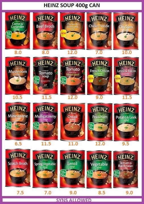Syns in heinz soup amazing heinz pinterest slimming The slimming world