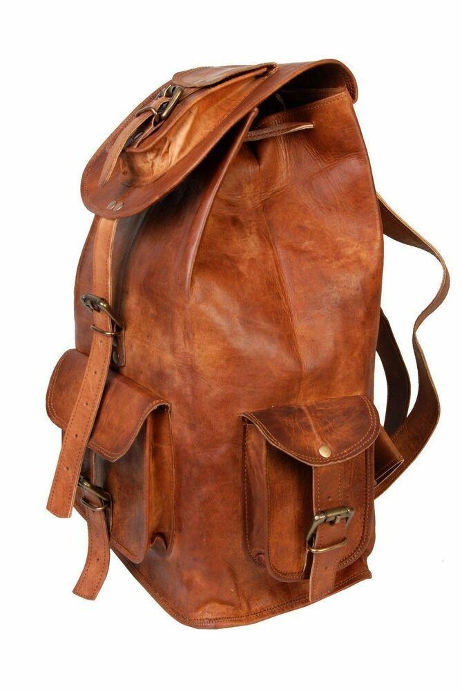 782128870d18 New Vintage Genuine Leather Backpack Rucksack Travel Bag For Men's ...
