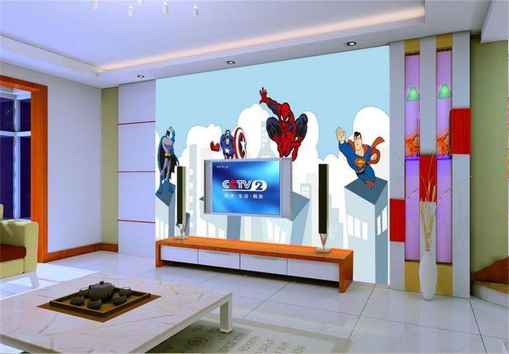 [Visit to Buy] 3d wallpaper photo wallpaper custom mural living room heroes spiderman superman 3d painting 3d wall murals non-woven wallpaper #Advertisement