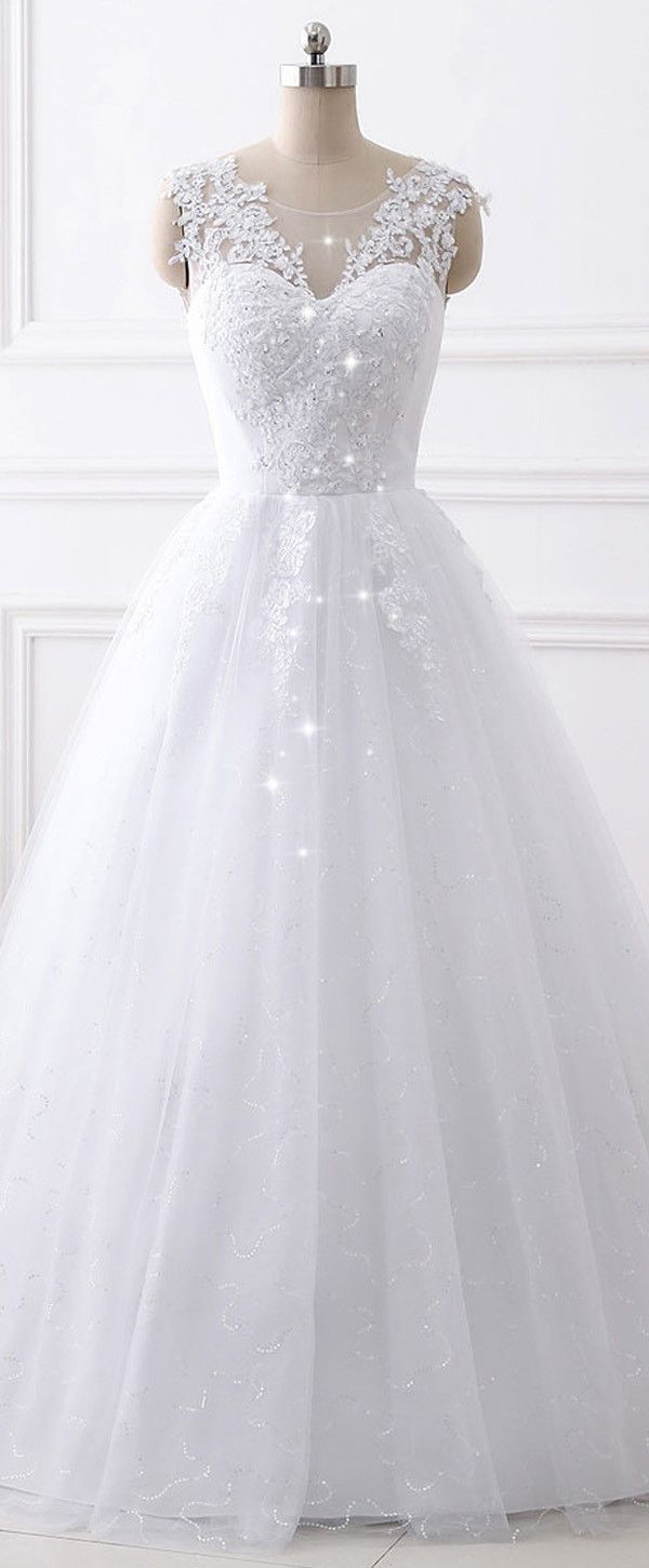 In Stock Fascinating Tulle & Sequin Tulle Jewel Neckline A-line Wedding Dress With Beaded Lace Appliques #weddingdresses