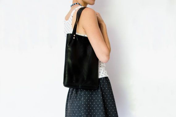 MINI black tote #LeatherBag, ipad bag, lunch bag, small business card wallet included