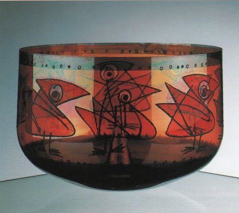 Frantisek Tejml's bowl with Birds, painted with lustres and black paint by the artist himself, 1958, H: 15,5 cm, Museum of Decorative Arts (UPM), Prague
