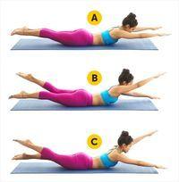 Deite-se de barriga para baixo em um colchonete de exercícios. Em seguida, levante braços, pernas e cabeça, de maneira que todo o seu corpo fique apoiado na região abdominal. Mova suas extremidades imitando uma 'tesoura', para cima e para baixo de forma alternada. Conte 20 segundos enquanto faz os movimentos e volte à posição inicial para descansar por 2 segundos. Repita o anterior 10 vezes. Se sentir cansaço, prolongue os intervalos de descanso, até no máximo 10 segundos.
