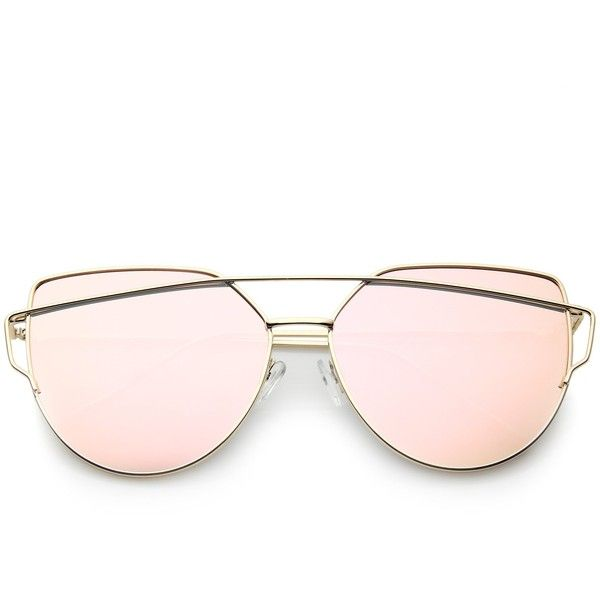 Oversize Thin Cross Brow Mirrored Flat Lens Sunglasses ($9.99) ❤ liked on Polyvore featuring accessories, eyewear, sunglasses, mirror sunglasses, oversized sunglasses, metal frame glasses, mirrored sunglasses and over sized sunglasses